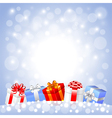Christmas gifts in the snow on white background vector image