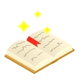 Magic book of spells open isometric 3d icon vector image