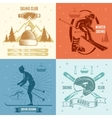 Nordic Skiing Retro Style Emblems vector image