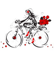 Sketch of a Girl Cycling with a Basket of Roses vector image