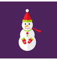 Snowman with Santa Hat Christmas Flat Icon vector image