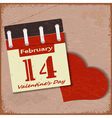 Vintage background with a calendar and a red heart vector image