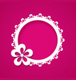 pink background with a floral frame vector image
