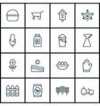 set of 16 garden icons includes wheelbarrow vector image
