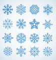 Different blue snowflakes set vector image vector image