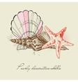 shells and starfish background vector image vector image