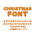 christmas font alphabet cookie gingerbread vector image