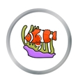 Clownfish and anemone icon in cartoon style vector image
