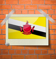 Flags Brunei scotch taped to a red brick wall vector image