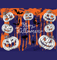 halloween background with scary pumkin heads vector image
