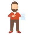 Man points finger at document vector image