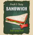 retro fast food swedish sandwich poster vector image