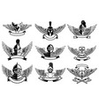 set of emblems with helmets and wings design vector image