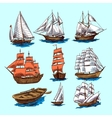 Ships and boats sketch set vector image