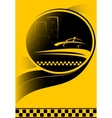 taxi background with city and car silhouette vector image