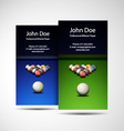 Business Card Professional Billiards Player vector image