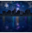Night city skyline with river and fireworks vector image