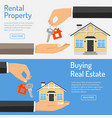 purchase and rental real estate banners vector image vector image
