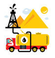 arab oil industry delivery vehicles flat vector image
