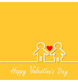 Happy Valentines Day Love card Man and Woman white vector image vector image