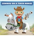 Cowboy rider on a tired horse vector image