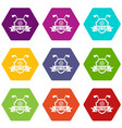 golf club emblem icon set color hexahedron vector image
