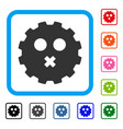 mute smiley gear framed icon vector image