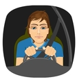 sleepy male driver dozing off while driving vector image
