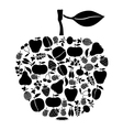 apple on fruits black vector image vector image