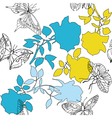 butterfly and flowers pattern vector image