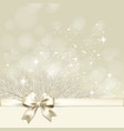 Christmas background with golden bow vector image