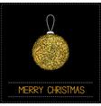 Christmas ball Glitter gold Merry Christmas card vector image