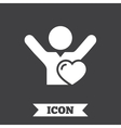 Fans love icon Man raised hands up sign vector image