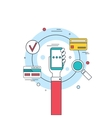 Hand holding phone Social network technology vector image