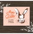 Retro Easter card Sketch watercolor Easter rabbit vector image