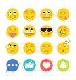 Set of Emoticons and Social Network Icons Flat vector image