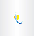 sun icon and water wave abstract logo vector image