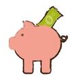 piggy bank money bill dollar sketch vector image