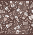 cartoon hand-drawn coffee shop seamless pattern vector image