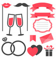 set of love and wedding elements isolated on white vector image vector image