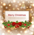 Christmas Elegant Card with Holly Berry vector image