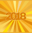 happy new year 2018 label on yellow background vector image