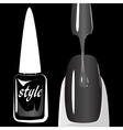 Nail polish on black background vector image
