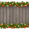 Seamless Christmas Old Board with Red Balls vector image