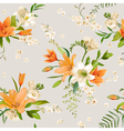 Spring Lily Flowers Backgrounds - Seamless Pattern vector image