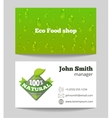 Green organic eco food shop business card vector image vector image