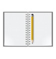 notebook with sheets in a cage and yellow pencil vector image vector image