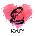 Beauty background with splash watercolor heart vector image