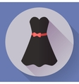 Black dress - classic fashion Icon in the flat vector image