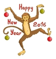 Card with funny monkey symbol of 2016 new year vector image